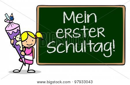 Girl standing next to chalkboard reading in German