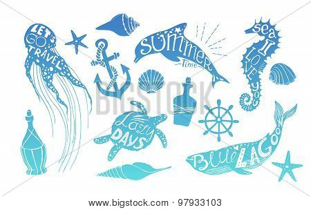 Hand Drawn Vector Illustration - Marine Kit. Design Elements For Postcards, Banners And Invitations.