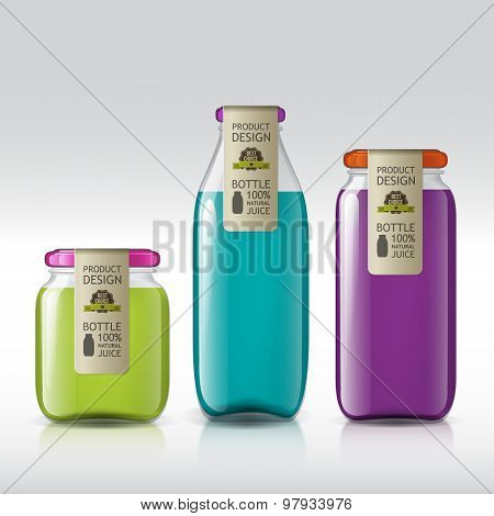 template of bottle juice, jam, liquids.