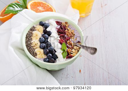 Breakfast smoothie bowl with fruits