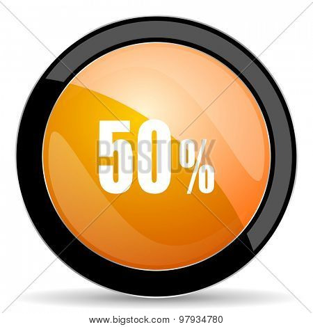 50 percent orange icon sale sign
