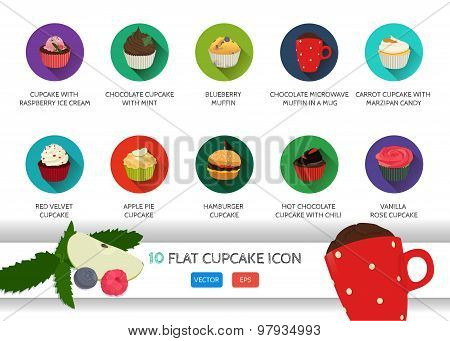 Flat cupcake icon. Food dessert collection.