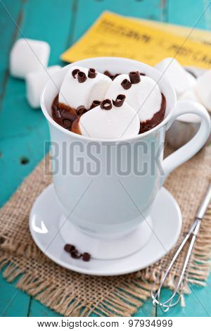 Peanut butter hot chocolate with marshmallows