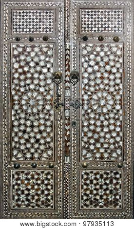 Doors with mother-of-pearl inlay in Topkapi palace Harem, Istanbul