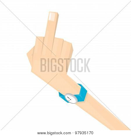 simple man hand with middle finger.