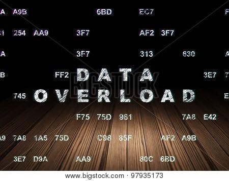 Information concept: Data Overload in grunge dark room