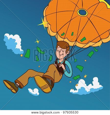 Smiling man fall on a golden parachute.