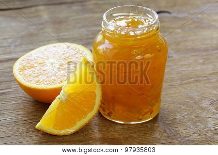 homemade organic orange marmalade jam with orange zest