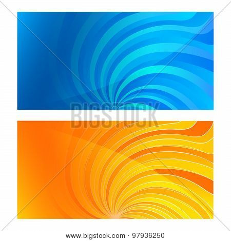 Business Card Set Horizontal Banner Twist Lines Blue Yellow Background