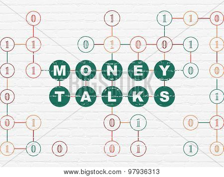 Finance concept: Money Talks on wall background