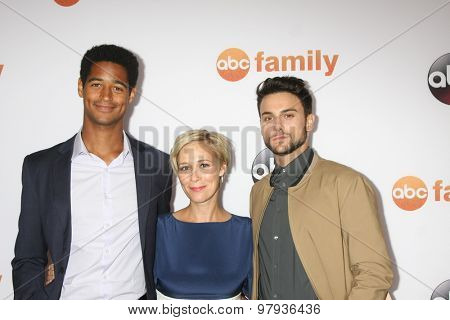 , LOS ANGELES - AUG 4:  Alfred Enoch, Liza Weil, Jack Falahee at the ABC TCA Summer Press Tour 2015 Party at the Beverly Hilton Hotel on August 4, 2015 in Beverly Hills, CA