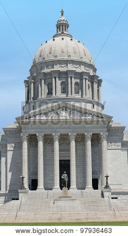 Front of the Missouri State Capitol building in Jefferson City, Missouri - Stitched from 2 images
