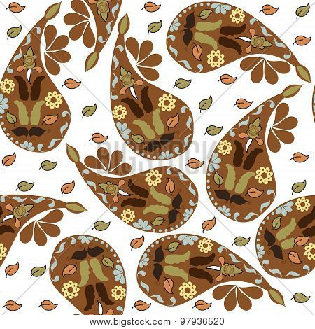 Colorful Brown Paisley Seamless Pattern And Seamless Pattern In Swatch Menu, Vector Illustration. Cu
