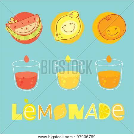 Lemonade elements set. Fruits, lettering and glassses with the drink.