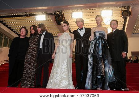 Actress Rooney Mara, director Todd Haynes and actress Cate Blanchett attend the 'Carol' Premiere during the 68th annual Cannes Film Festival on May 17, 2015 in Cannes, France.