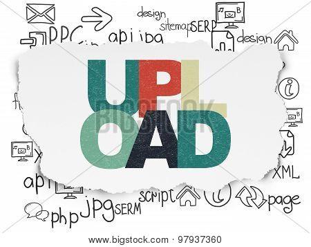 Web development concept: Upload on Torn Paper background