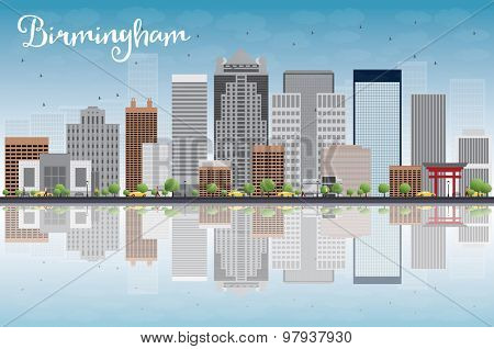 Birmingham (Alabama) Skyline with Grey Buildings, Blue Sky and reflection. Vector Illustration