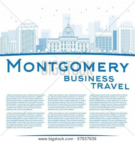 Outline Montgomery Skyline with Blue Buildings and copy space. Alabama. Vector Illustration