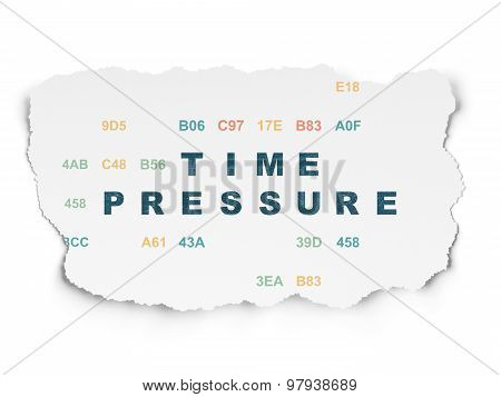Time concept: Time Pressure on Torn Paper background