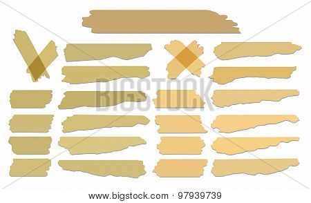 Set of accept or yes, cross and different size adhesive tape pieces on white background