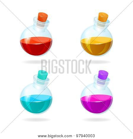 Bottles Of Potion Vector Icons For Games