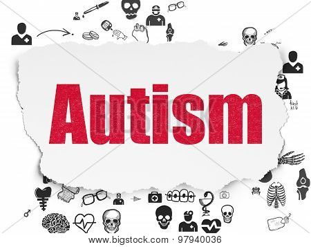 Health concept: Autism on Torn Paper background