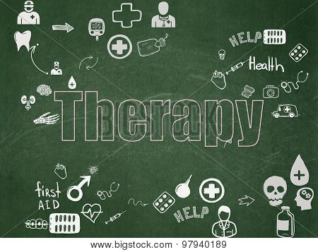 Healthcare concept: Therapy on School Board background