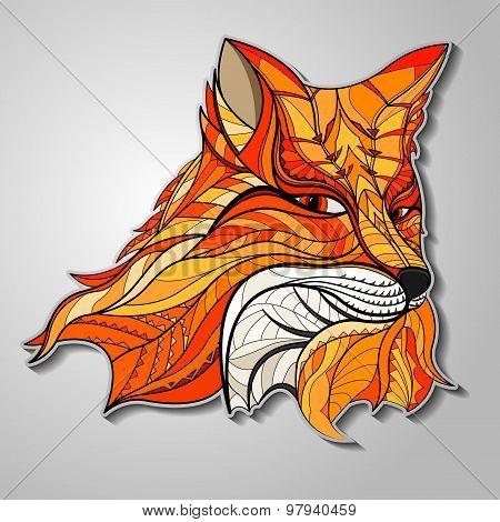 Fox in ethnic design.