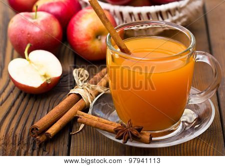 Fresh apple cider with cinnamon