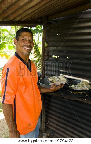 Native Nicaragua Man Freshly Cooked Seafood Rondon Rundown Food Specialty