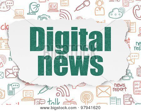News concept: Digital News on Torn Paper background