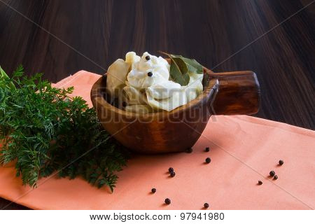 Cooked Meat Dumplings In A Wooden Bowl