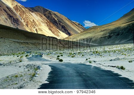 Road Towards Mountains With Peaks Of Himalaya, Leh, Ladakh, Jammu And Kashmir, India