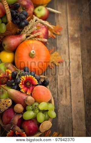 Autumn background with fresh fruits