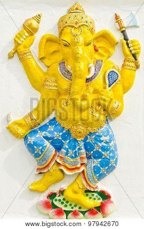 God Of Success 31 Of 32 Posture. Indian Or Hindu God Ganesha Avatar Image In Stucco