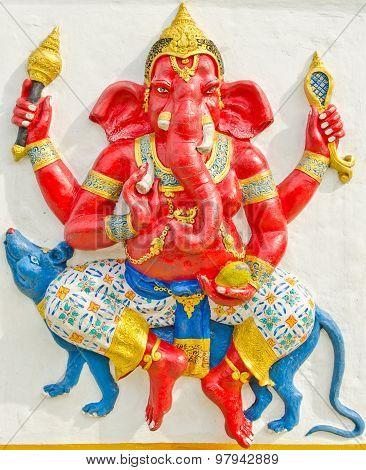 God Of Success 13 Of 32 Posture. Indian Or Hindu God Ganesha Avatar Image In Stucco