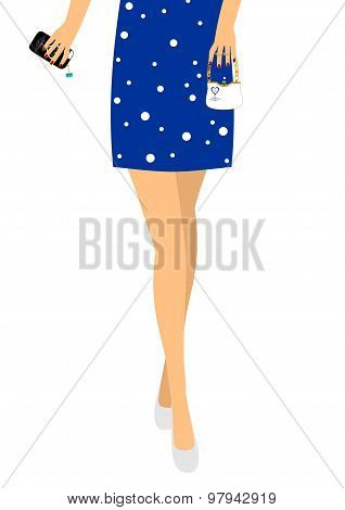 Girl in white shoes with a handbag and phone