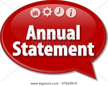 Speech bubble dialog illustration of business term saying Annual statement