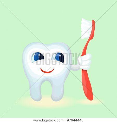 Children teeth care and hygiene cartoon flat vector illustration