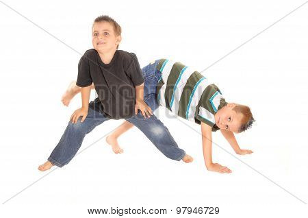 Two Little Boy's Dancing On The Floor.