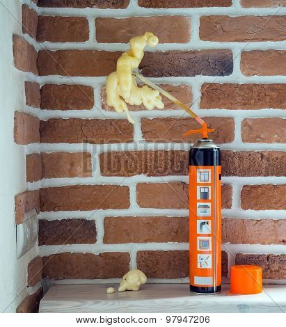 Construction Foam, Brick Wall