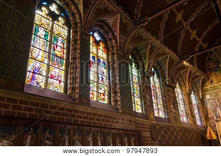 Stained Glass Windows Of Basilica Of The Holy Blood