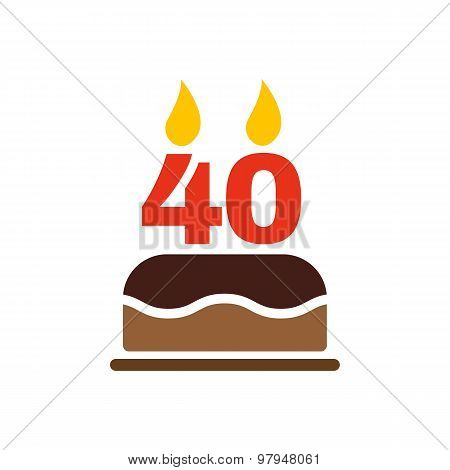 The Birthday Cake With Candles In Form Of Number 40 Icon Symbol