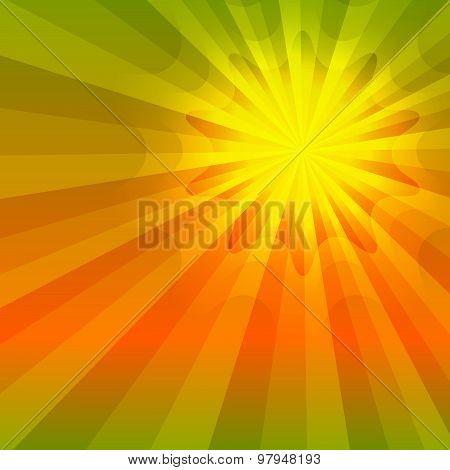 Hot Summer Sun Orange Glow Green Gradient Background