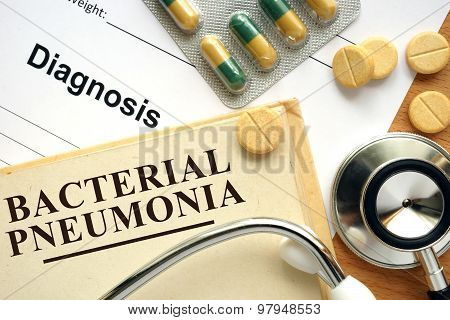 Word  Bacterial pneumonia. Medical concept.