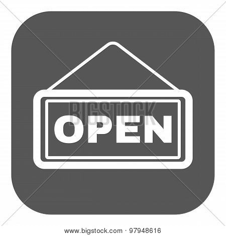 The open sign icon. Input and entrance symbol. Flat