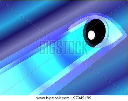 Glowing eye on blue background