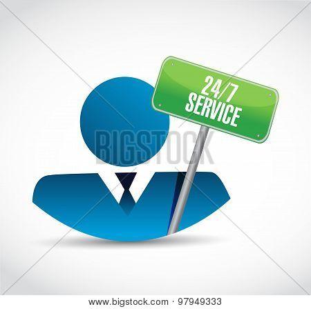 24-7 Service Avatar Sign Concept Illustration