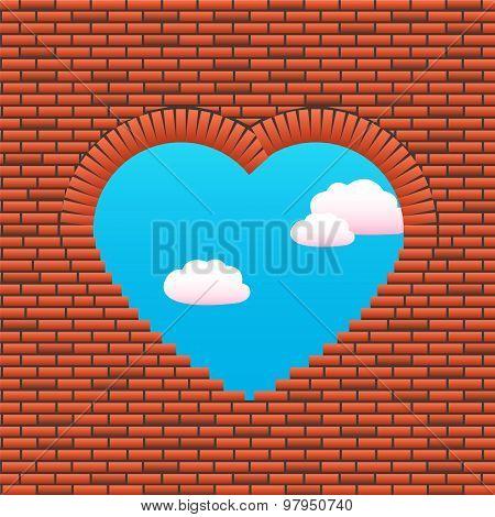 Stone Wall-window Heart Heavenly Sky Pink Clouds