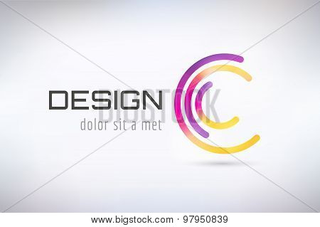 Vector c logo template. Abstract circle shape and symbol, icon or creative dea, copyright, flow. Sto